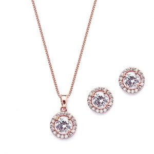 Halo Cubic Zirconia Necklace and Earrings Set