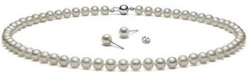 HinsonGayle AAA Handpicked White Freshwater Cultured Pearls & Stud Earrings Silver 18 inch