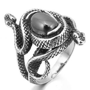 INBLUE Men's Stainless Steel Ring Simulated Agate Silver Tone Black Snake Hollow Openwork