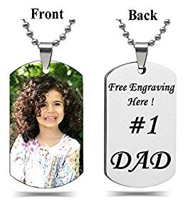 Interway Trading Personalized Rectangular Military Shape Custom Photo High Polished Color Engraved Dog Tag Necklace Pendant with 24 inch Stainless Steel Chain, Velvet Giftpouch and Keyring