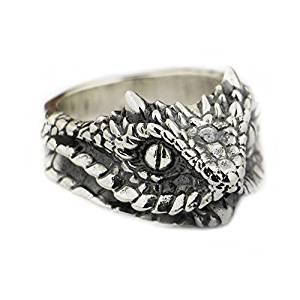 LISNION 925 Sterling Silver Adder Viper Snake Ring Mens Biker Ring TA87