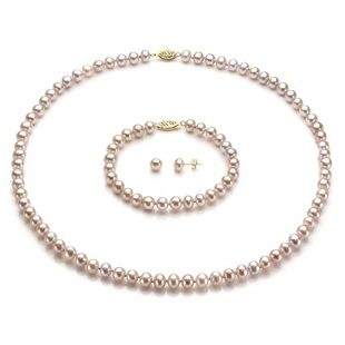 "La Regis Jewelry 14k Yellow Gold 6-6.5mm Freshwater Cultured Pearl Necklace 18"", 7"" Bracelet and Stud Earrings Set"