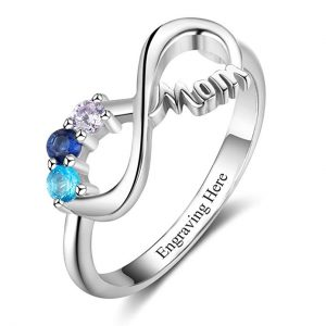 Lam Hub Fong Personalized Mother's Rings with 3 Simulated Birthstones for Mom Infinity Rings for Grandmother Mother's Day Rings