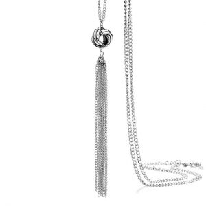 Long Silver Tassel with Lovely Knot Pendant