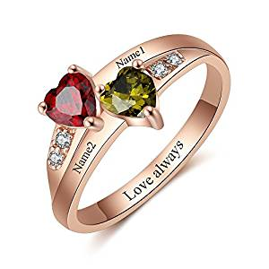 Love Jewelry Personalized Mothers Ring with 2 Simulated Birthstones Names for Grandmother Custom Women Promise Rings for Her