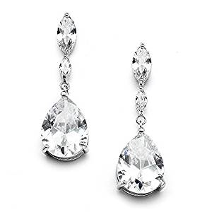 Mariell Cubic Zirconia Bridal, Bridesmaid or Prom Teardrop Earrings with Marquis and Pear-Shaped Dangles