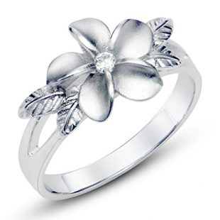 Metal Factory 925 Sterting Silver Plumeria Cubic Zirconia CZ with Maile Leaf Hawaiian Flower Band Ring