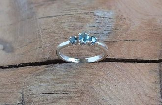 Montana Sapphire 3 Stone Past Present Future Ring Sterling Silver
