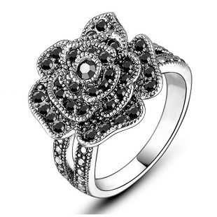 Mytys Vintage Fashion Flower Ring Rose Ring Black Marcasite Stones Paved Statement Rings for Women Girls Silver/Gold Plated