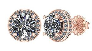 NANA 14k Gold Post & Sterling Silver 4 Prong CZ Stud Earrings -Platinum Plated