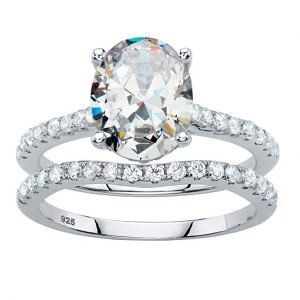 Oval-Cut White Cubic Zirconia Platinum over .925 Silver 2-Piece Bridal Ring Set
