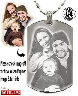 Personalized Photo Text Dogtags Custom Your Picture Text Necklace Pendant + Free Engraving # Valentine's Mother's Father's Day Gift
