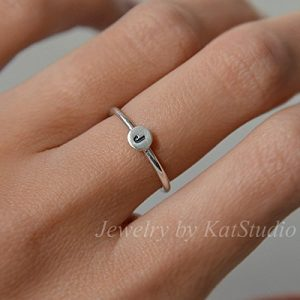 Personalized stacking ring, initial ring, monogramed ring, bridesmaids ring, handmade, sterling silver 925, Jewelry by Katstudio