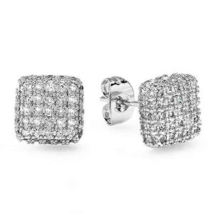 Platinum Plated With White CZ Cubic Zirconia Cube Shaped 9 mm Stud Earrings