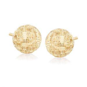 Ross-Simons Italian 18kt Yellow Gold Diamond-Cut Dome Stud Earrings