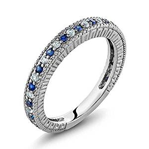 Sterling Silver Ladies Anniversary Wedding Band Ring Blue Simulated Sapphire and White Created Sapphire