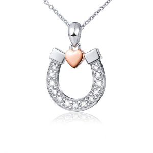 Sterling Silver Lucky Horseshoe with Rose Gold Love Heart Star Pendant Necklace, Rolo Chain 18""