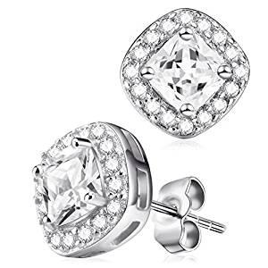 Stud Earrings - Sterling Silver Stud Earrings S925 - CZ Round Crystal Cubic Zirconia Stud Earrings - Rhodium Plated Screw Back Earrings for Women Fashion