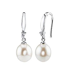 THE PEARL SOURCE 9-10mm Genuine White Freshwater Cultured Pearl & Cubic Zirconia Ally Earrings for Women