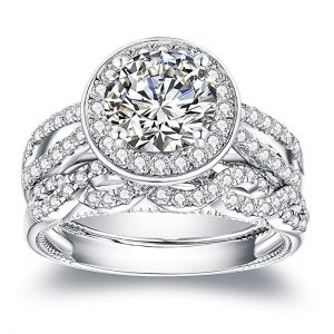VAN RORSI&MO 2.0ct Round Engagement Wedding Ring Set for Women 18K Gold Plated Sterling Silver Bridal Set