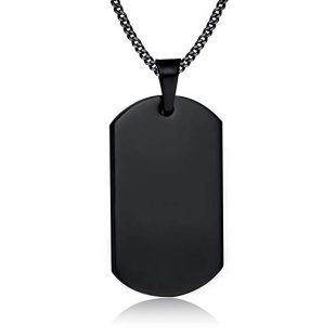 VNOX Free Engraving-Stainless Steel Dog Tag Military Army Pendant Necklace,Silver/Black/Gold Plated
