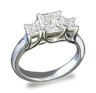 Venetia 3-Stones Supreme Top Grade Realistic Princess Cut Simulated Diamond Ring 925 Silver Platinum Plated cz cubic zirconia