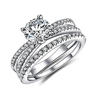 Vibrille Women's Created Diamond Engagement Wedding Ring Bridal Sets in Sterling Silver