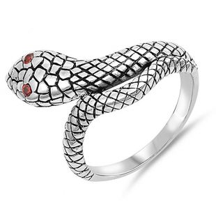 Viper Snake Wrap Around Solid Sterling Silver Womens Ring Sizes 6-12