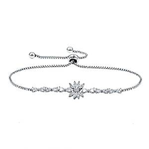 WeimanJewelry White Gold Plated Cubic Zirconia CZ Assorted Flower Leaf Adjustable Bridal Chain Bracelet for Women