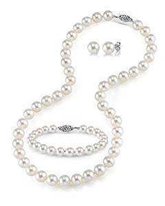 White Freshwater Cultured Pearl Necklace, Bracelet and Earring set