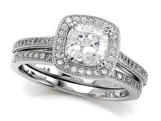 Zoe R Sterling Silver Micro Pave Hand Set Cubic Zirconia Halo 6mm Cushion Cut Center Wedding Set