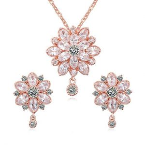 Pink Swarovski Flower Pendant Necklace and Stud Earrings