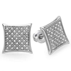 0.20 Carat (ctw) Real White Diamond Kite Shape Men's Hip Hop Iced Micro Pave Stud Earrings 1/5 CT