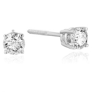 0.50 to 0.75 ctw SI2-I1 14K Certified Diamond Stud Earrings White Gold AGS