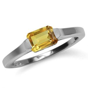 1.04ct. Natural Citrine White Gold Plated 925 Sterling Silver Solitaire Ring