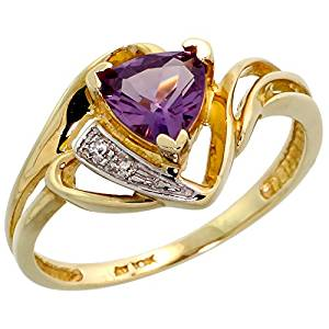 10k Gold Diamond Natural Amethyst Ring Trillium Cut 6mm February Birthstone 1/2 inch wide, sizes 4 - 9