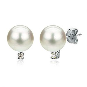 14K White Gold Cultured Freshwater White Pearl Stud Earrings Diamond Jewelry for Women 1/50 CTTW