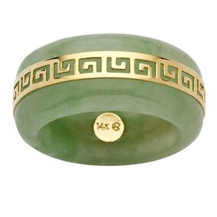 14K Yellow Gold Round Genuine Green Jade Greek Key Ring