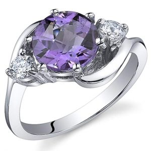3 Stone Design 1.75 carats Amethyst Ring in Sterling Silver Rhodium Nickel Finish Sizes 5 to 9