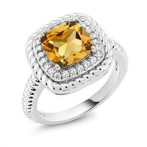 925 Sterling Silver Yellow Citrine Gemstone Engagement Ring 3.00 C