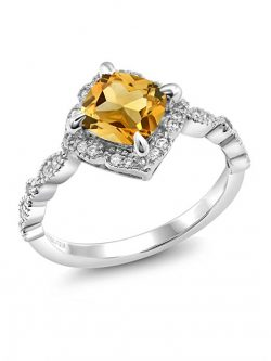 925 Platinum Plated Sterling Silver Cushion Yellow Citrine Women's Ring 1.74 Ctw
