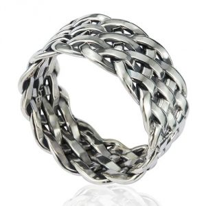 925 Sterling Silver 11 mm Wide Braided Woven Celtic Knot Band Thumb Ring - Nickle Free
