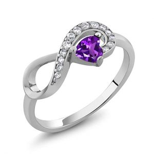 925 Sterling Silver Purple Amethyst Women's Infinity Ring 0.33 Ctw Heart Shape Gemstone Birthstone (Available 5,6,7,8,9)