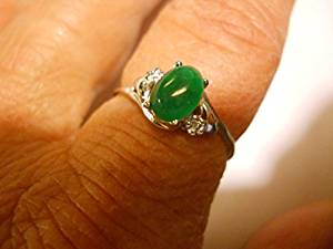 925 silver green oval jade ring