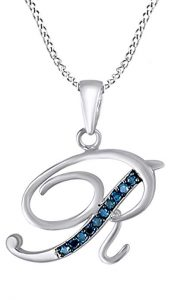 AFFY Blue Natural Diamond Initial A-Z Letter Pendant Necklace in 14k Gold Over Sterling Silver