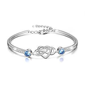 AOBOCO 925 Sterling Silver Infinity Endless Love Bracelet