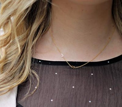 Asymmetrical Mini Letter Necklace - Sideways Initial Necklace - Letter Necklace - Bridesmaids Gifts - Number Necklace -Personalized Necklace