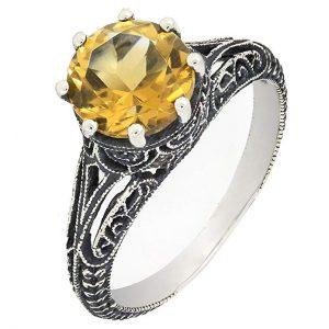 BL Jewelry Antique Finish Filigree Sterling Silver Round Genuine Citrine Ring