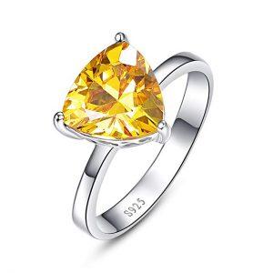 BONLAVIE Women's 5.95ct 925 Sterling Silver Triangle Shaped Created Yellow Citrine Birthstone Engagement Ring