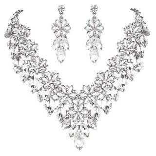 BriLove Women's Wedding Bridal Crystal Multi Flower Marquis Cluster Statement Necklace Dangle Earrings Set